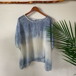 CAbi 781 Sheer Fade Out Ombré Oversized Blouse